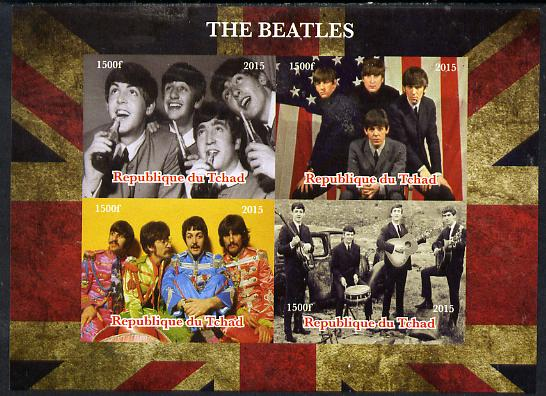 Chad 2015  The Beatles imperf sheetlet containing 4 values unmounted mint. Note this item is privately produced and is offered purely on its thematic appeal. .