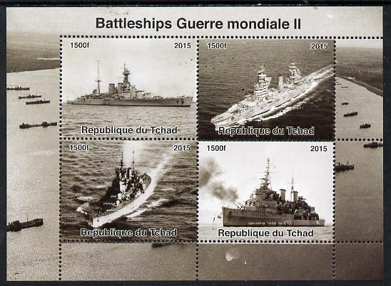 Chad 2015  Battleships of World War 2 perf sheetlet containing 4 values unmounted mint. Note this item is privately produced and is offered purely on its thematic appeal. .