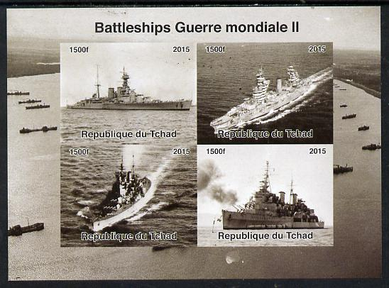 Chad 2015  Battleships of World War 2 imperf sheetlet containing 4 values unmounted mint. Note this item is privately produced and is offered purely on its thematic appea..., stamps on ships, stamps on  ww2 , stamps on .