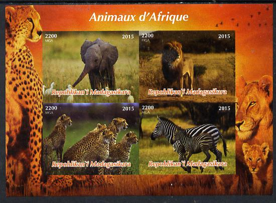 Madagascar 2015  Animals of Africa imperf sheetlet containing 4 values unmounted mint. Note this item is privately produced and is offered purely on its thematic appeal