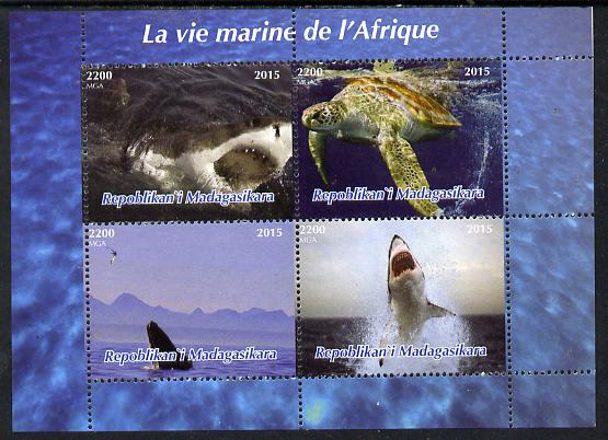 Madagascar 2015  Marine Life of Africa perf sheetlet containing 4 values unmounted mint. Note this item is privately produced and is offered purely on its thematic appeal