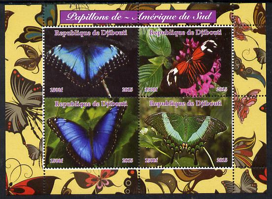 Djibouti 2015 Butterflies #3 perf sheetlet containing 4 values unmounted mint. Note this item is privately produced and is offered purely on its thematic appeal