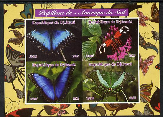 Djibouti 2015 Butterflies #3 imperf sheetlet containing 4 values unmounted mint. Note this item is privately produced and is offered purely on its thematic appeal
