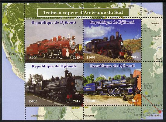 Djibouti 2015 Steam Locomotives of South America perf sheetlet containing 4 values unmounted mint. Note this item is privately produced and is offered purely on its thematic appeal