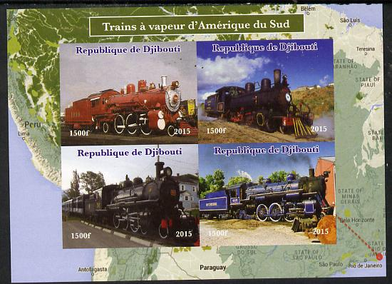 Djibouti 2015 Steam Locomotives of South America imperf sheetlet containing 4 values unmounted mint. Note this item is privately produced and is offered purely on its thematic appeal