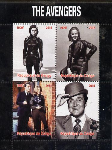Congo 2015 The Avengers (TV series) perf sheetlet containing 4 values unmounted mint. Note this item is privately produced and is offered purely on its thematic appeal