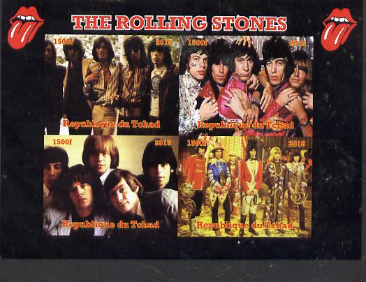 Chad 2015 The Rolling Stones imperf sheetlet containing 4 values unmounted mint. Note this item is privately produced and is offered purely on its thematic appeal. .