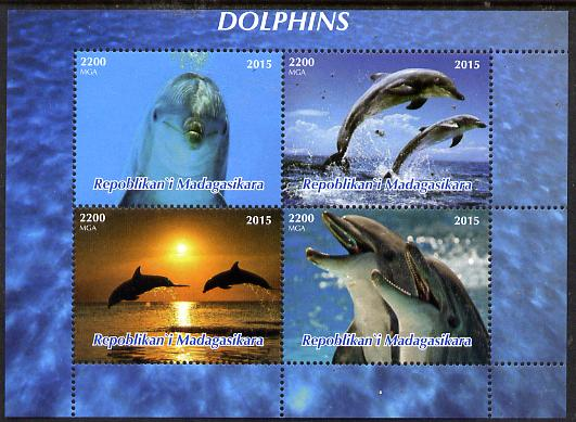 Madagascar 2015 Dolphins perf sheetlet containing 4 values unmounted mint. Note this item is privately produced and is offered purely on its thematic appeal