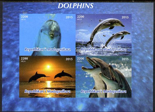 Madagascar 2015 Dolphins imperf sheetlet containing 4 values unmounted mint. Note this item is privately produced and is offered purely on its thematic appeal