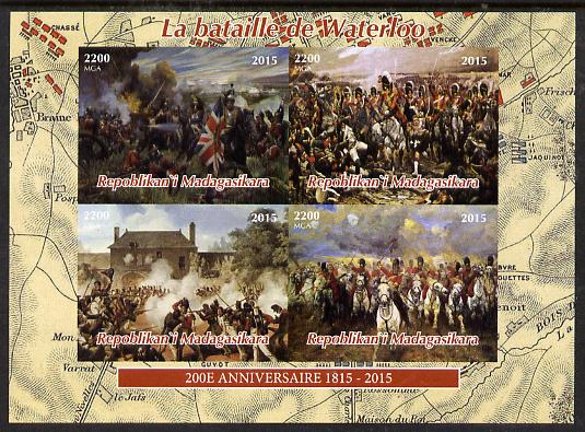 Madagascar 2015 Battle of Waterloo imperf sheetlet containing 4 values unmounted mint. Note this item is privately produced and is offered purely on its thematic appeal