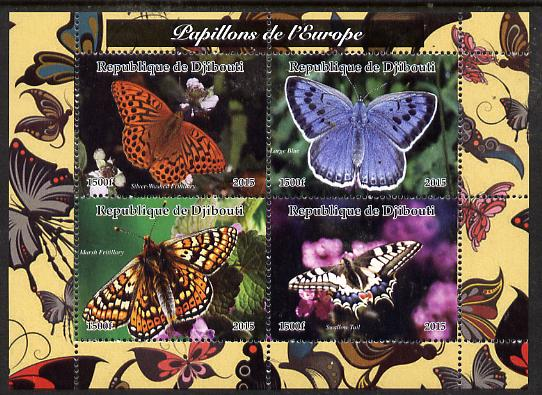 Djibouti 2015 Butterflies of Europe #1 perf sheetlet containing 4 values unmounted mint. Note this item is privately produced and is offered purely on its thematic appeal