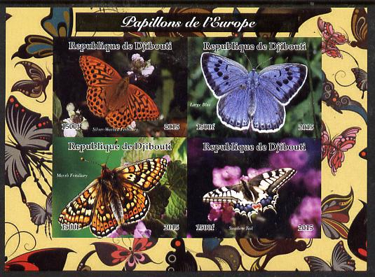 Djibouti 2015 Butterflies of Europe  #1 imperf sheetlet containing 4 values unmounted mint. Note this item is privately produced and is offered purely on its thematic appeal