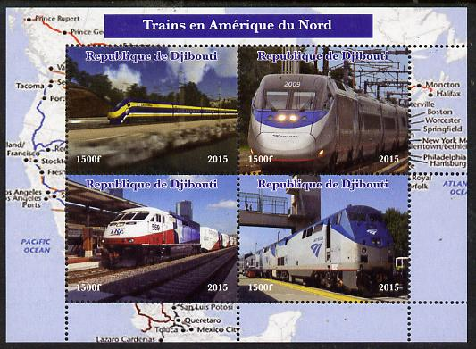 Djibouti 2015 Trains of North America perf sheetlet containing 4 values unmounted mint. Note this item is privately produced and is offered purely on its thematic appeal