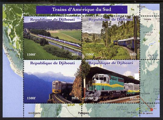 Djibouti 2015 Trains of South America perf sheetlet containing 4 values unmounted mint. Note this item is privately produced and is offered purely on its thematic appeal