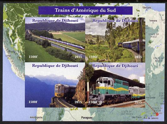 Djibouti 2015 Trains of South America imperf sheetlet containing 4 values unmounted mint. Note this item is privately produced and is offered purely on its thematic appeal