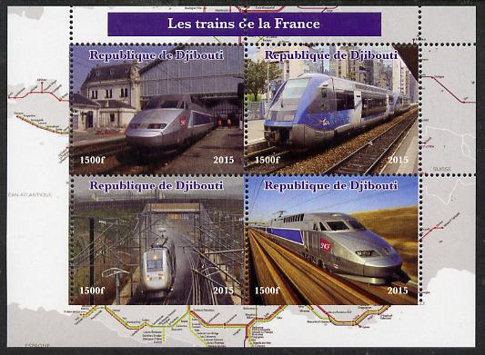 Djibouti 2015 Trains of France perf sheetlet containing 4 values unmounted mint. Note this item is privately produced and is offered purely on its thematic appeal