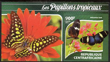 Central African Republic 2015 Butterflies #3 imperf s/sheet unmounted mint. Note this item is privately produced and is offered purely on its thematic appeal