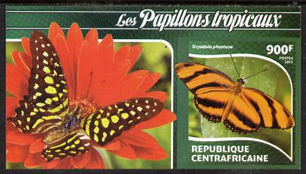 Central African Republic 2015 Butterflies #4 imperf s/sheet unmounted mint. Note this item is privately produced and is offered purely on its thematic appeal