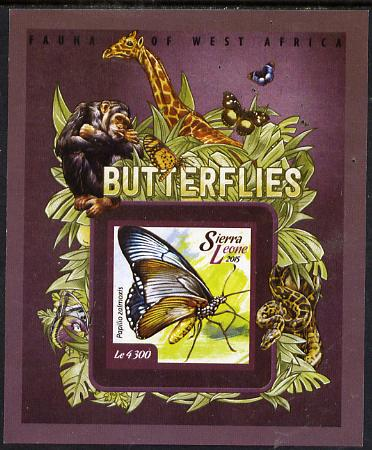 Sierra Leone 2015 Butterflies #1 imperf s/sheet unmounted mint, stamps on butterflies, stamps on