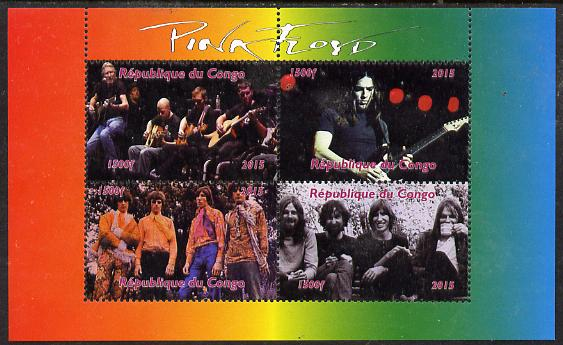 Congo 2015 Pink Floyd #1 perf sheetlet containing 4 values unmounted mint. Note this item is privately produced and is offered purely on its thematic appeal