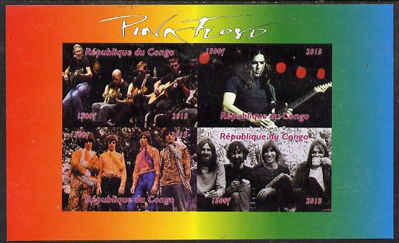 Congo 2015 Pink Floyd #1 imperf sheetlet containing 4 values unmounted mint. Note this item is privately produced and is offered purely on its thematic appeal
