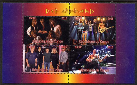 Congo 2015 Def Leppard #1 perf sheetlet containing 4 values unmounted mint. Note this item is privately produced and is offered purely on its thematic appeal