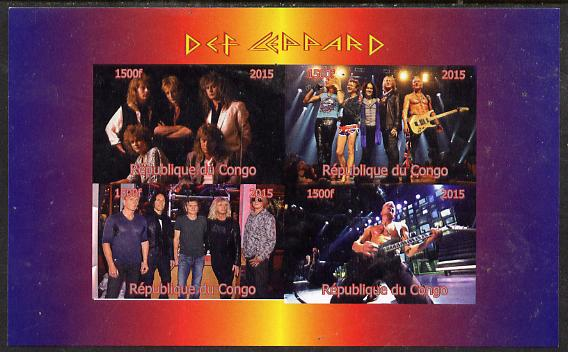 Congo 2015 Def Leppard #1 imperf sheetlet containing 4 values unmounted mint. Note this item is privately produced and is offered purely on its thematic appeal