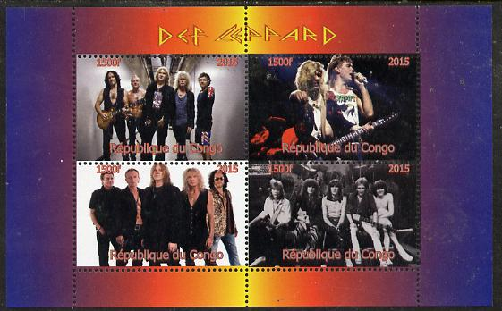 Congo 2015 Def Leppard #2 perf sheetlet containing 4 values unmounted mint. Note this item is privately produced and is offered purely on its thematic appeal