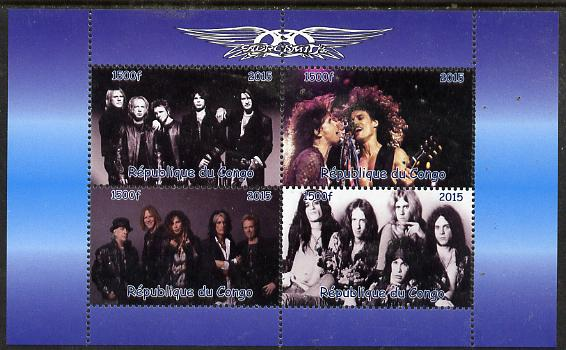 Congo 2015 Aerosmith #1 perf sheetlet containing 4 values unmounted mint. Note this item is privately produced and is offered purely on its thematic appeal