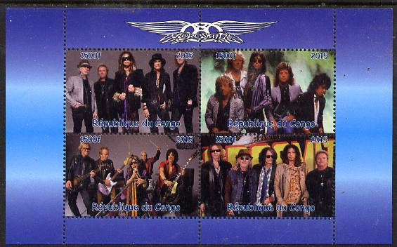 Congo 2015 Aerosmith #2 perf sheetlet containing 4 values unmounted mint. Note this item is privately produced and is offered purely on its thematic appeal