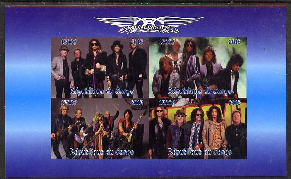Congo 2015 Aerosmith #2 imperf sheetlet containing 4 values unmounted mint. Note this item is privately produced and is offered purely on its thematic appeal