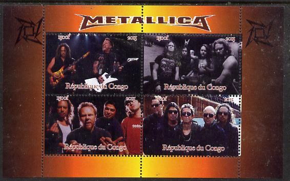Congo 2015 Metallica #2 perf sheetlet containing 4 values unmounted mint. Note this item is privately produced and is offered purely on its thematic appeal