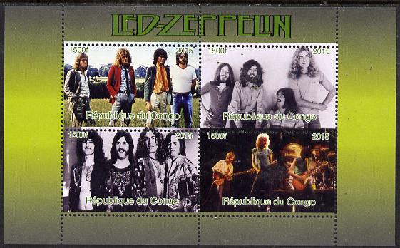 Congo 2015 Led Zeppelin #1 perf sheetlet containing 4 values unmounted mint. Note this item is privately produced and is offered purely on its thematic appeal