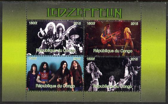 Congo 2015 Led Zeppelin #2 perf sheetlet containing 4 values unmounted mint