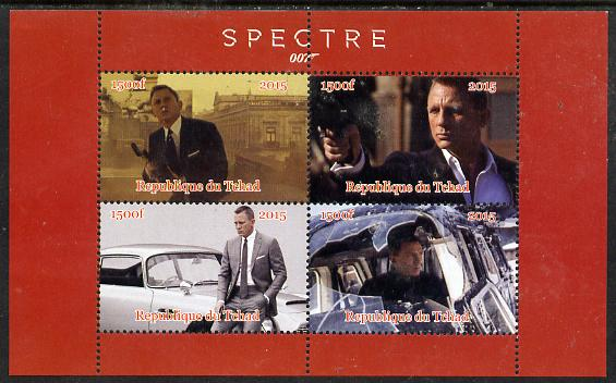 Chad 2015 Spectre (James Bond) #3 perf sheetlet containing 4 values unmounted mint. Note this item is privately produced and is offered purely on its thematic appeal. .