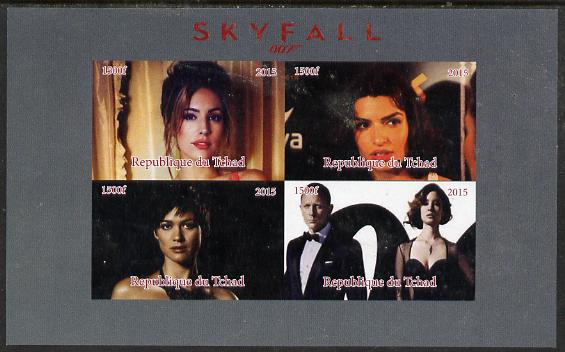Chad 2015 Skyfall (James Bond) #1 imperf sheetlet containing 4 values unmounted mint. Note this item is privately produced and is offered purely on its thematic appeal. .