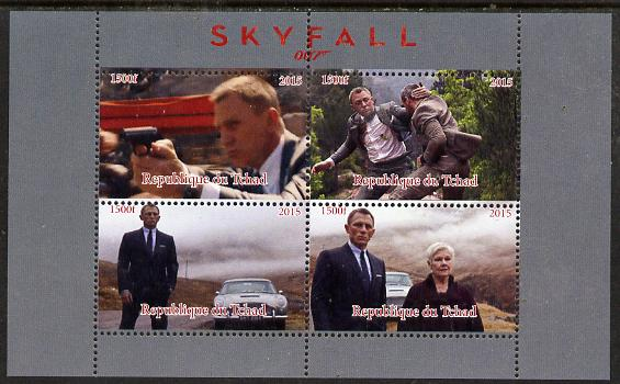 Chad 2015 Skyfall (James Bond) #2 perf sheetlet containing 4 values unmounted mint. Note this item is privately produced and is offered purely on its thematic appeal. .