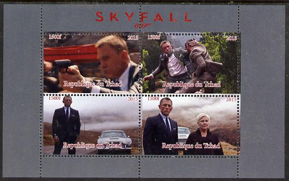 Chad 2015 Skyfall (James Bond) #2 imperf sheetlet containing 4 values unmounted mint. Note this item is privately produced and is offered purely on its thematic appeal. .