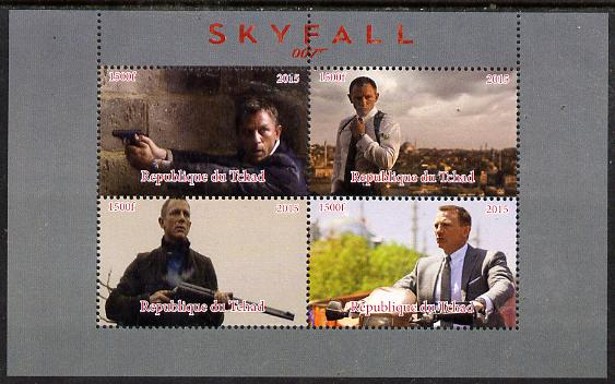 Chad 2015 Skyfall (James Bond) #3 perf sheetlet containing 4 values unmounted mint. Note this item is privately produced and is offered purely on its thematic appeal. .
