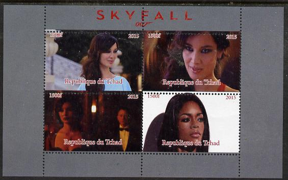 Chad 2015 Skyfall (James Bond) #4 perf sheetlet containing 4 values unmounted mint. Note this item is privately produced and is offered purely on its thematic appeal. .