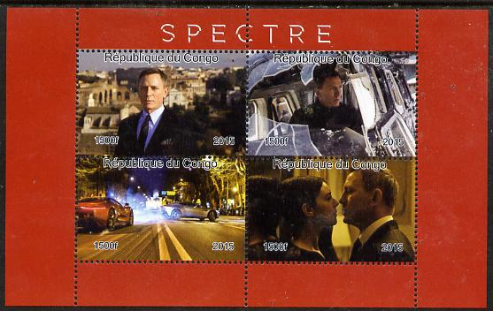 Congo 2015 Spectre (James Bond) perf sheetlet containing 4 values unmounted mint. Note this item is privately produced and is offered purely on its thematic appeal, it has no postal validity