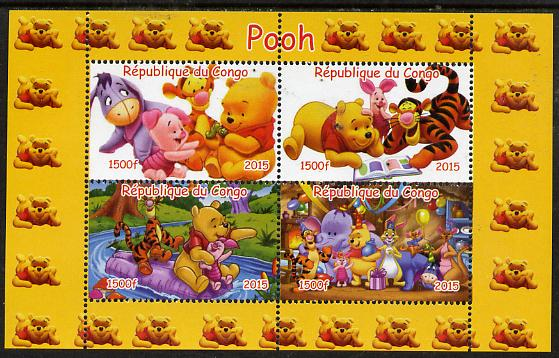 Congo 2015 Winnie-the-Pooh #2 perf sheetlet containing 4 values unmounted mint. Note this item is privately produced and is offered purely on its thematic appeal