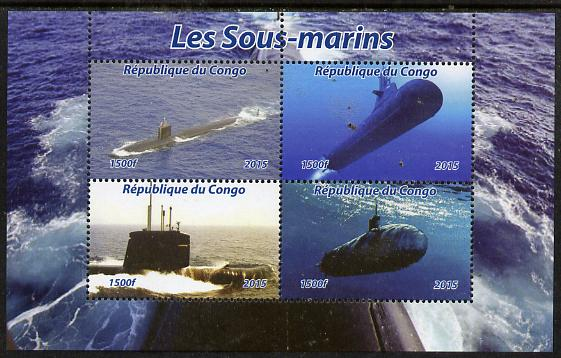 Congo 2015 Submarines perf sheetlet containing 4 values unmounted mint. Note this item is privately produced and is offered purely on its thematic appeal, it has no postal validity
