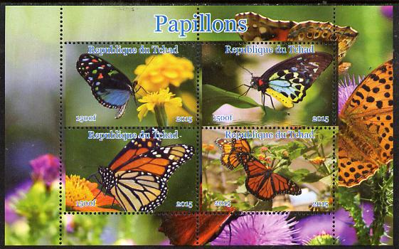 Chad 2015 Butterflies #2 perf sheetlet containing 4 values unmounted mint. Note this item is privately produced and is offered purely on its thematic appeal, it has no postal validity