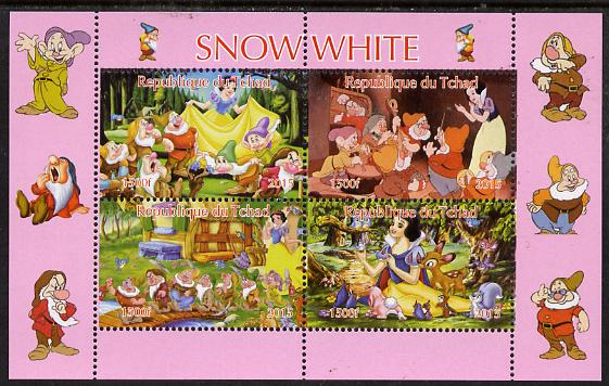 Chad 2015 Snow White #1 perf sheetlet containing 4 values unmounted mint. Note this item is privately produced and is offered purely on its thematic appeal, it has no postal validity