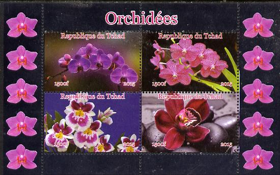 Chad 2015 Orchids #1 perf sheetlet containing 4 values unmounted mint. Note this item is privately produced and is offered purely on its thematic appeal. .