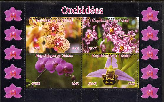 Chad 2015 Orchids #2 perf sheetlet containing 4 values unmounted mint. Note this item is privately produced and is offered purely on its thematic appeal, it has no postal validity