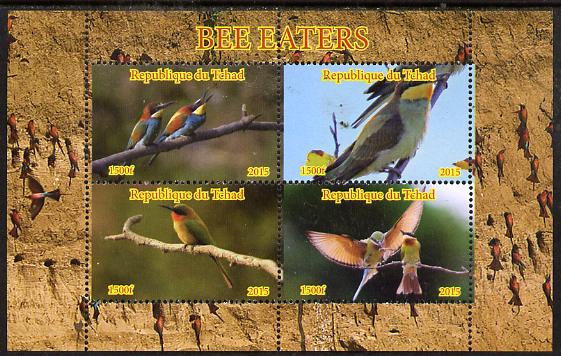 Chad 2015 Bee Eaters #2 perf sheetlet containing 4 values unmounted mint. Note this item is privately produced and is offered purely on its thematic appeal. .