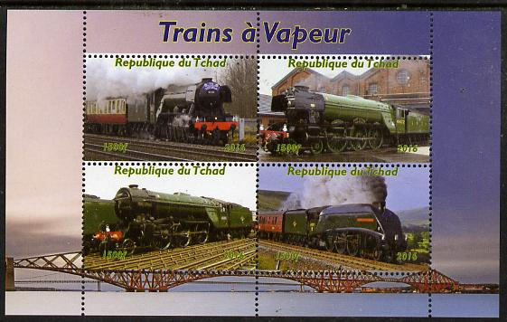 Chad 2015 Steam Trains perf sheetlet containing 4 values unmounted mint. Note this item is privately produced and is offered purely on its thematic appeal, it has no postal validity