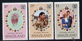 Swaziland 1981 Royal Wedding set of 3 unmounted mint, SG 376-78,  gutter pairs pro-rata